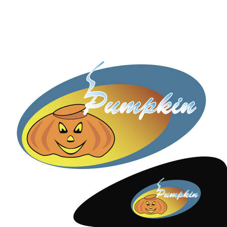 stocky: Sticker with a picture of a baked pumpkin for holiday Hellouin