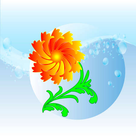 Red flower on a green stem and blue spray of clean water Vector