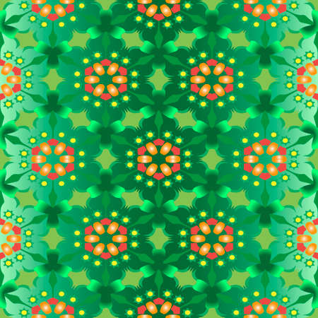 Abstract seamless background with green flower Vector