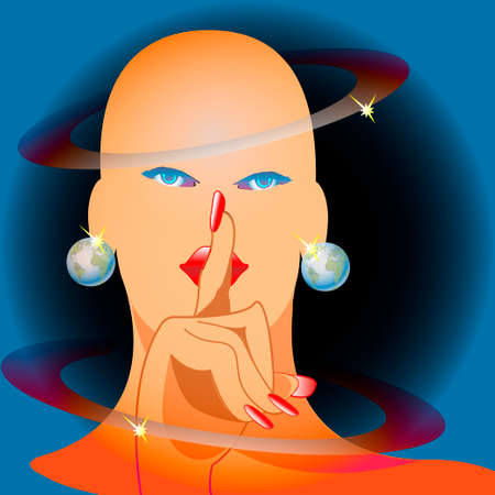 Miss Universe girl with earrings - Globe Vector
