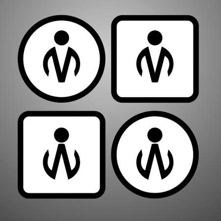 watercloset: icon man and woman circle and square design