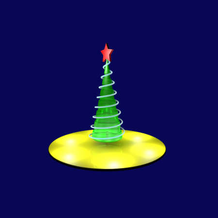 ecard: green Christmas tree on top of a red star