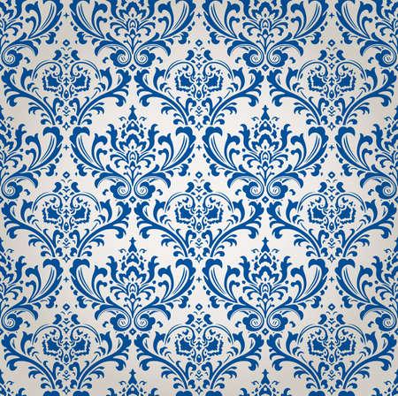 ビンテージのダマスク織金襴花柄の壁紙背景テクスチャ  イラスト・ベクター素材