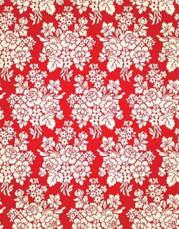 damask background: Vintage Floral Damask Brocade Wallpaper Background Texture Illustration