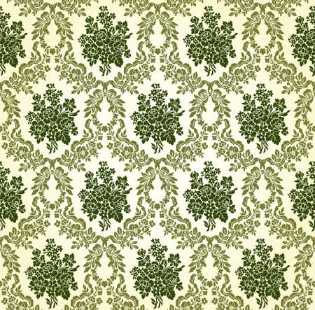 Vintage Floral Damask Brocade Wallpaper Background Texture Vector