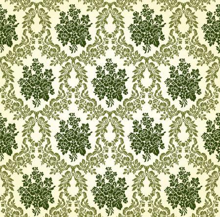 victorian textile: Vintage Floral Damask Brocade Wallpaper Background Texture Illustration