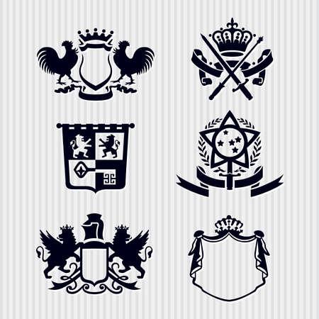 escudo de armas: Heráldica Royal crestas escudo de armas de Vectores