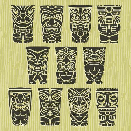 Tiki Totems Native Tribal Isla