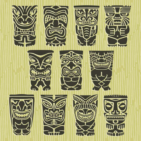 polynesisch: Tiki Tribal Heimatinsel Totems Illustration