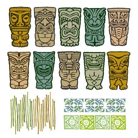 폴리네시아: 테두리 요소와 티키 부족 원주민 섬 토템