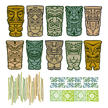 polynesisch: Tiki Totems Tribal Heimatinsel mit Border Elements Illustration