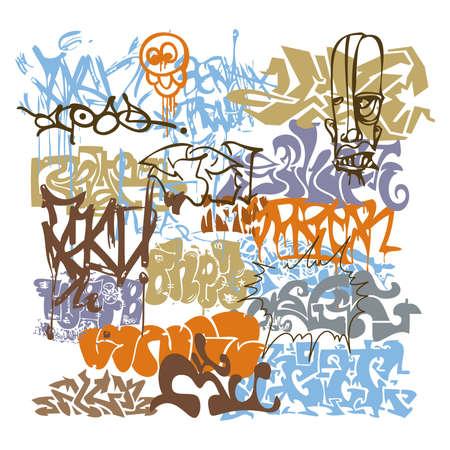 タグ グラフィティ都市アート  イラスト・ベクター素材