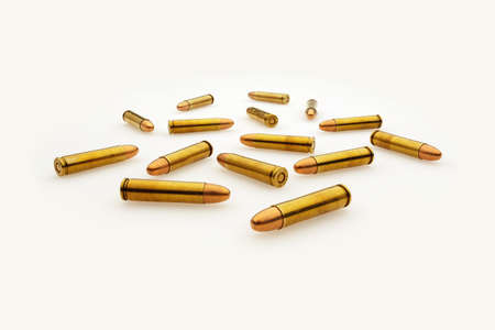 Scattered Bullets Isolated on White Wide Angle View