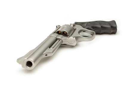 Stainless 357 Magnum Revolver isolated on White