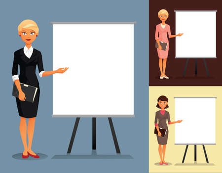 hairdos: Three variants of businesswomenwith different hairdos and clothing colors Illustration