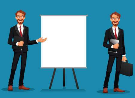 Bearded businessmen showing at a whiteboard or holding a tablet