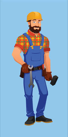 tool belt: Construction worker with a tool belt, screwdriver, hammer and spanners