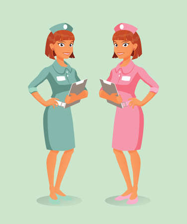 nursing uniforms: A  pair of nurses, pink and green, holding hospital documents