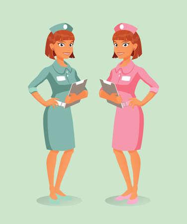 hospital caricatura: Un par de enfermeras, rosa y verde, la celebraci�n de los documentos del hospital