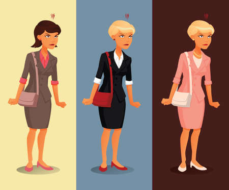 Three variants of angry businesswoman with different hairdos and clothing colors