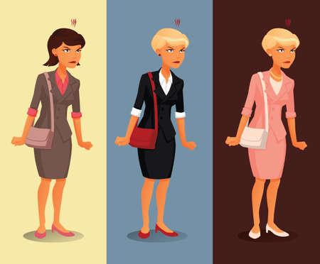 femme dessin: Trois variantes de col�re affaires avec diff�rentes coiffures et couleurs de v�tements