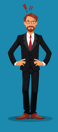 business suit: Angry businessman looking straight at the viewer