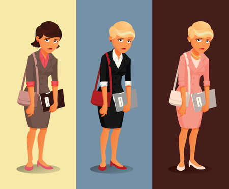 confident woman: Three variants of sad businesswoman with different hairdos and clothing colors