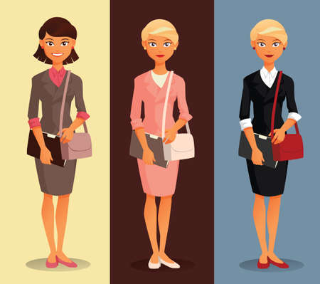 hairdos: Three variants of a businesswoman with different hairdos and clothing colors Illustration