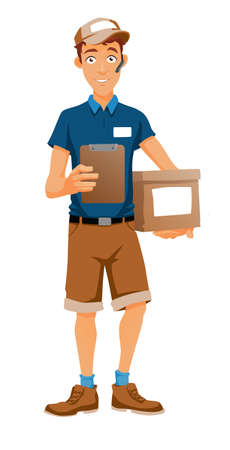 handsfree: A delivery man with handsfree,  bringing a package and holding a clipboard