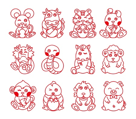 Chinese Zodiac, Twelve animals, Line art Vector