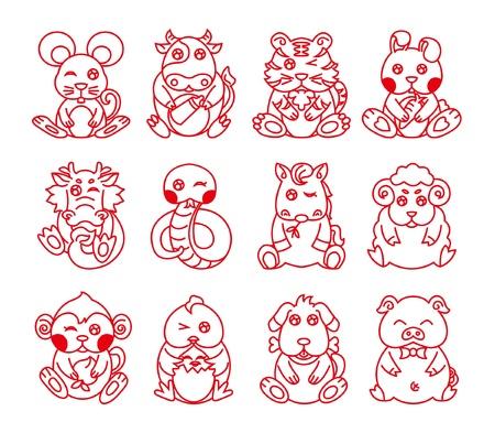 superstitious: Zodiaco cinese, dodici animali, linea arte