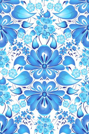 arrangement: Vector seamless pattern. Flower arrangement. Hand painting in Russian tradition. Blue vector ornamental floral composition in Gzhel style.