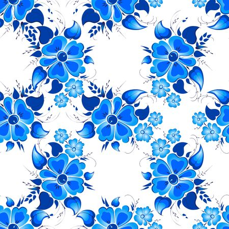 gzhel: Vector seamless pattern. Flower arrangement. Hand painting in Russian tradition. Blue vector ornamental floral composition in Gzhel style.