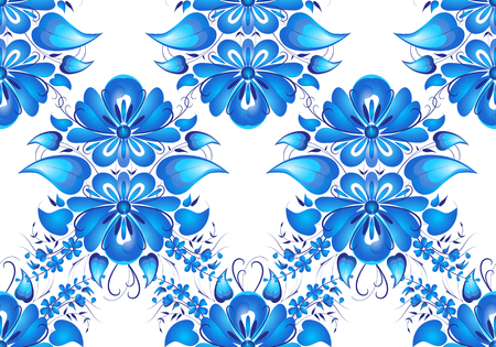 flower arrangement: Vector seamless pattern. Flower arrangement. Hand painting in Russian tradition. Blue vector ornamental floral composition in Gzhel style.