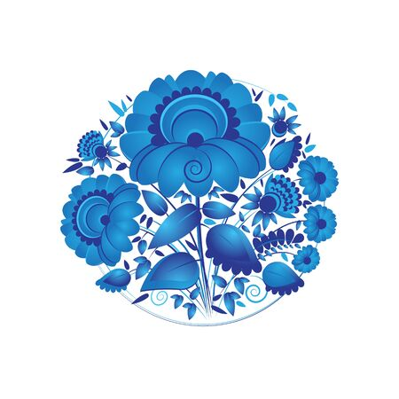 french culture: Flower arrangement. Hand painting on a tray plate in Russian tradition. Vector illustration. Blue vector ornamental floral composition in Gzhel style.