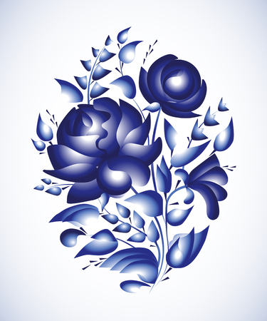 gzhel: Flower arrangement. Hand painting on a tray plate in Russian tradition. Vector illustration. Blue vector ornamental floral composition in Gzhel style.
