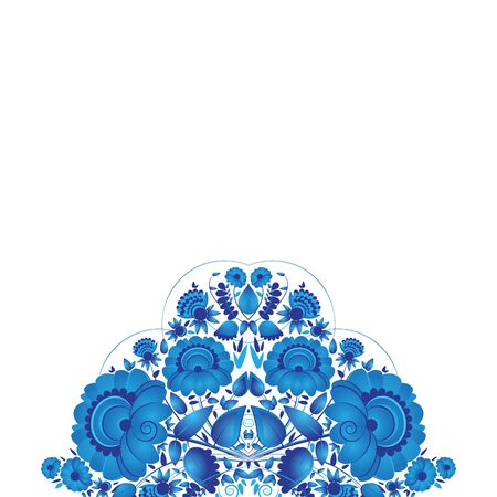 arrangement: Flower arrangement. Hand painting in Russian tradition. Vector illustration. Blue vector ornamental floral composition in Gzhel style. Invitation. Illustration