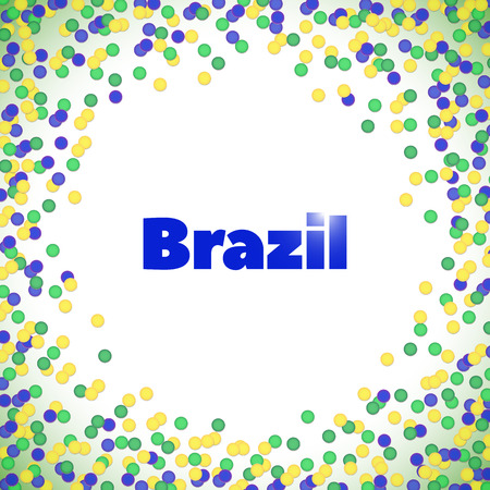 hick: Vector background in Brazil flag concept, yellow, green, blue. Latin American holiday, the June party of Brazil, bright night background with confetti and lights, Festa Junina