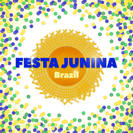 hick: Vector background in Brazil flag concept, yellow, green, blue. Latin American holiday, the June party of Brazil, bright background with confettiand hat. Hat for June Festival, Festa Junina hat Illustration