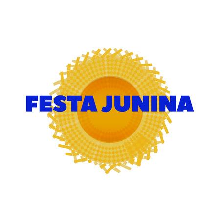hick: Vector Hat for June Festival, Festa Junina hat. Latin American holiday, the June party of Brazil, bright background with Festa Junina hat on white. Illustration