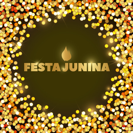 hick: Vector background in Gold and yellow. Latin American holiday, the June party of Brazil, bright night background with confetti, sparks and lights, Festa Junina