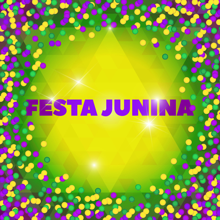 hick: Latin American holiday, the June party of Brazil, bright night the background with confetti and lights, Festa Junina, Vector