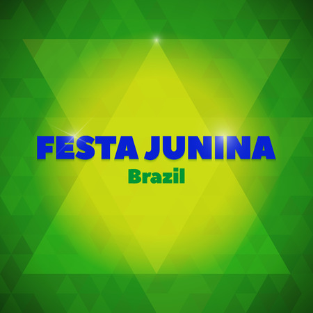 hick: Vector background in Brazil flag concept, yellow, green, blue. Latin American holiday, the June party of Brazil, bright night background, Festa Junina Illustration