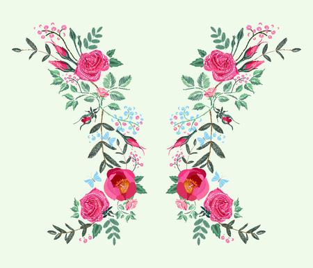 ドレスのためのベクトル刺繍デザイン。赤いピンクのバラと牡丹。黒の背景に花柄  イラスト・ベクター素材