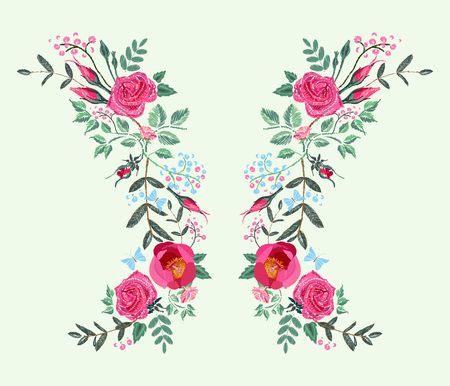 Vector embroidery design for dress. Red pink Roses and Peony. Floral pattern on black background