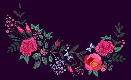 Vector embroidery design. Red pink Roses and Peony. Floral pattern on black background