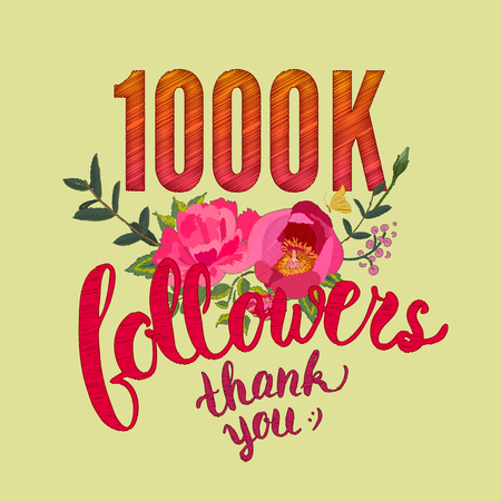 numbers abstract: Thank you 1000 followers card. Illustration