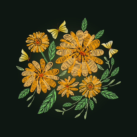 butterfly isolated: Vector embroidery design. Daisy, chamomile, butterfly