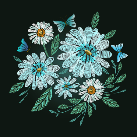 Vector embroidery design. Daisy, chamomile, butterfly