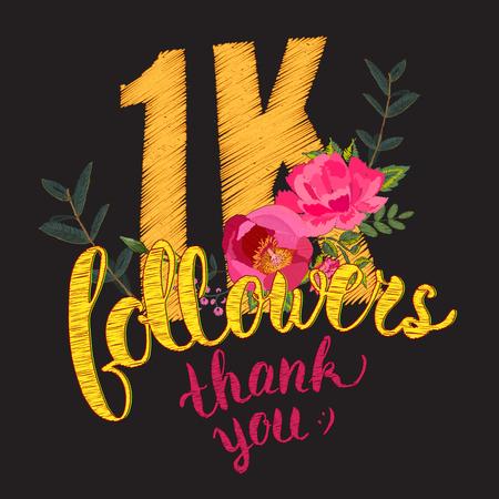Vector. Thank you 1K followers card. ONE thousand followers.